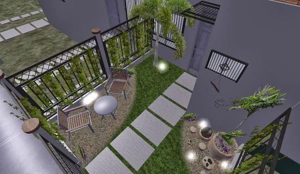 Dise o 3d jardin peque o fachada alumbrado noche 2 for Diseno jardines 3d