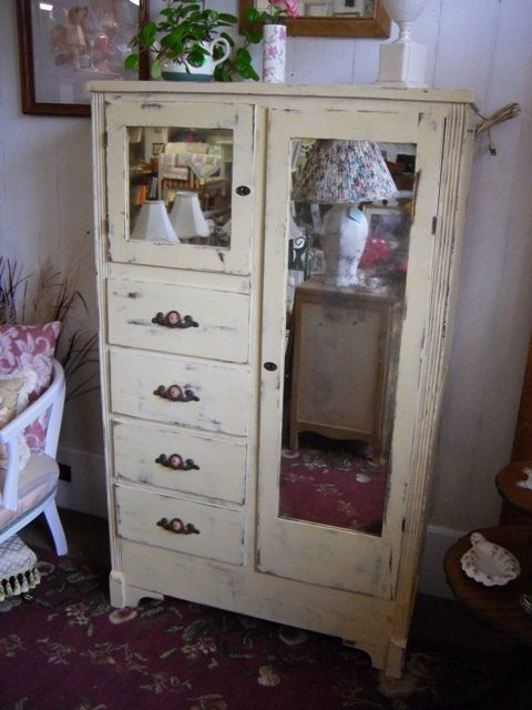 Vintage Wardrobe Chest Of Drawers Dresser Armoire N Shabby
