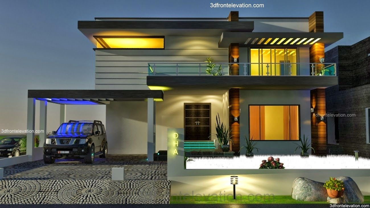 3d front elevation com 2 2 kanal dha karachi modern contemporary house design with swimming plool 3d front elevation