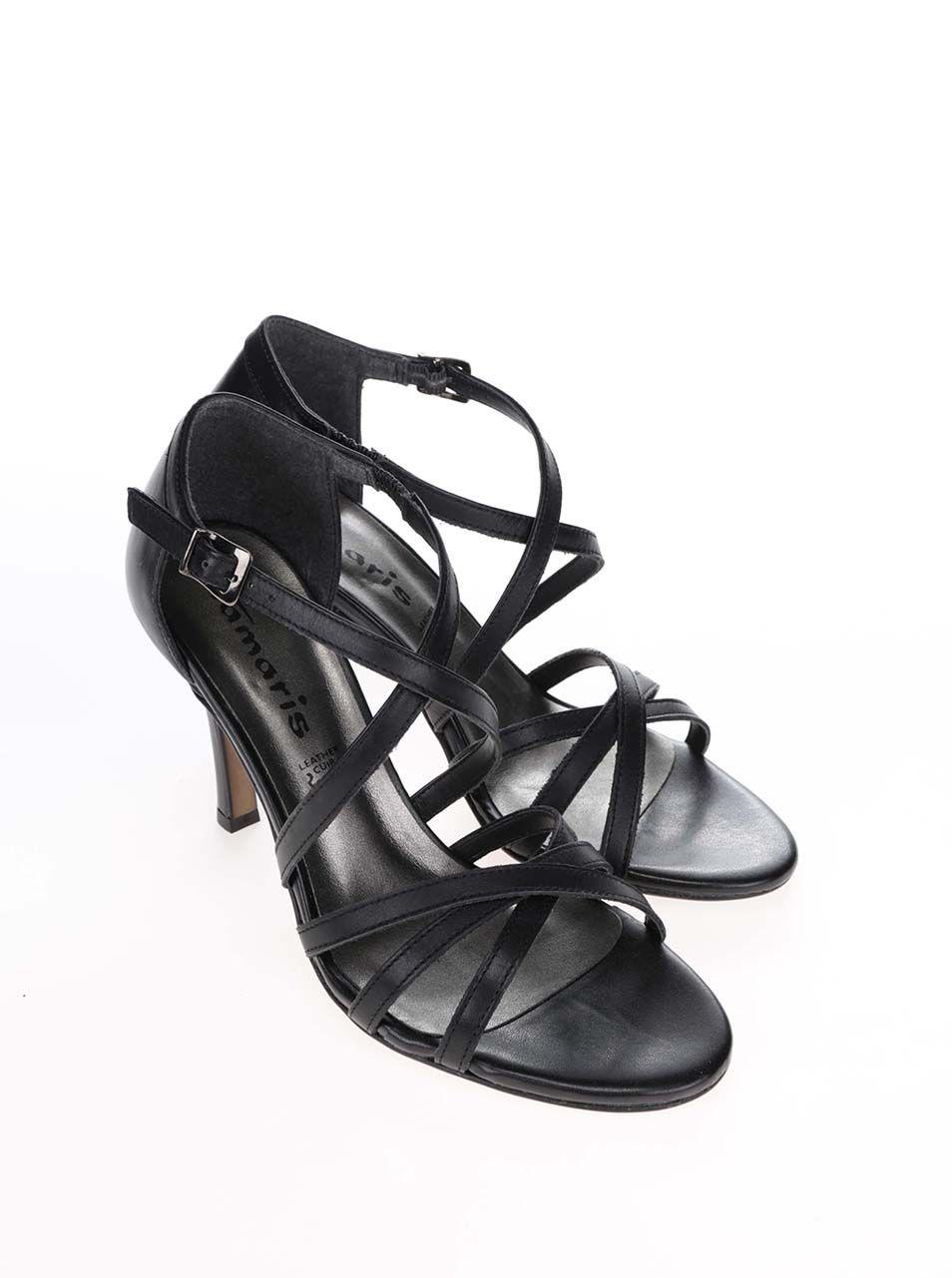 6d7ebd87ccd Černé kožené páskové boty na jehlovém podpatku Tamaris