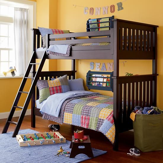 The Land Of Nod Kids Bunk Beds Kids Twin Espresso Wooden Simple