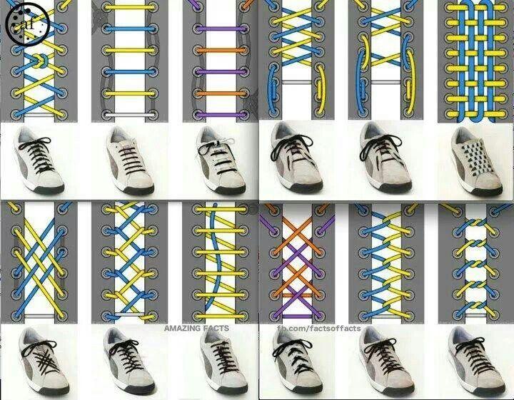 Different ways to put shoe lace | Shoe lace patterns, Shoe