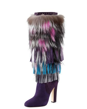 Dalia Fringed Suede and Fur Boot by Jimmy Choo at Bergdorf Goodman.