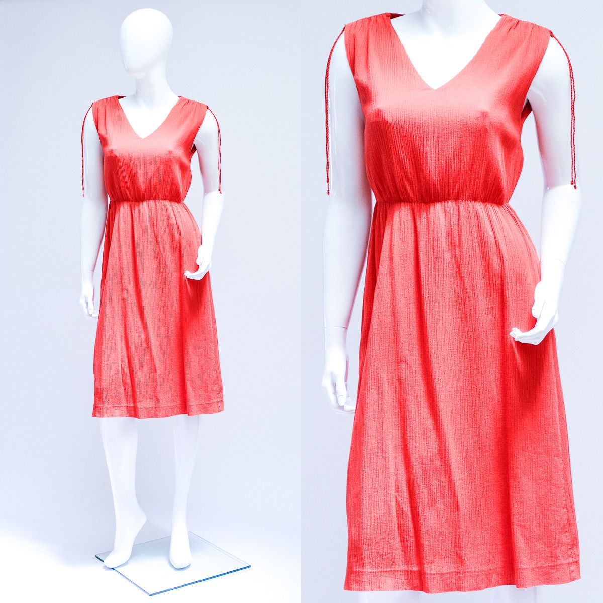 Vintage 1980s Red Lined Crinkle Summer Day Dress Small