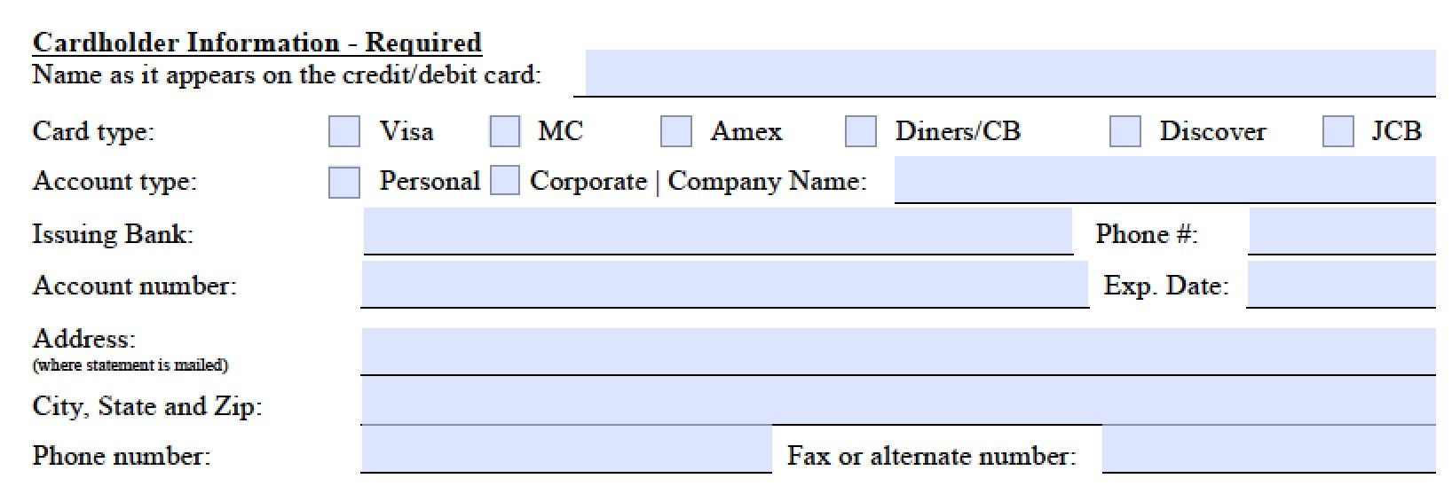 Download Marriott Credit Card Authorization Form Template Pdf