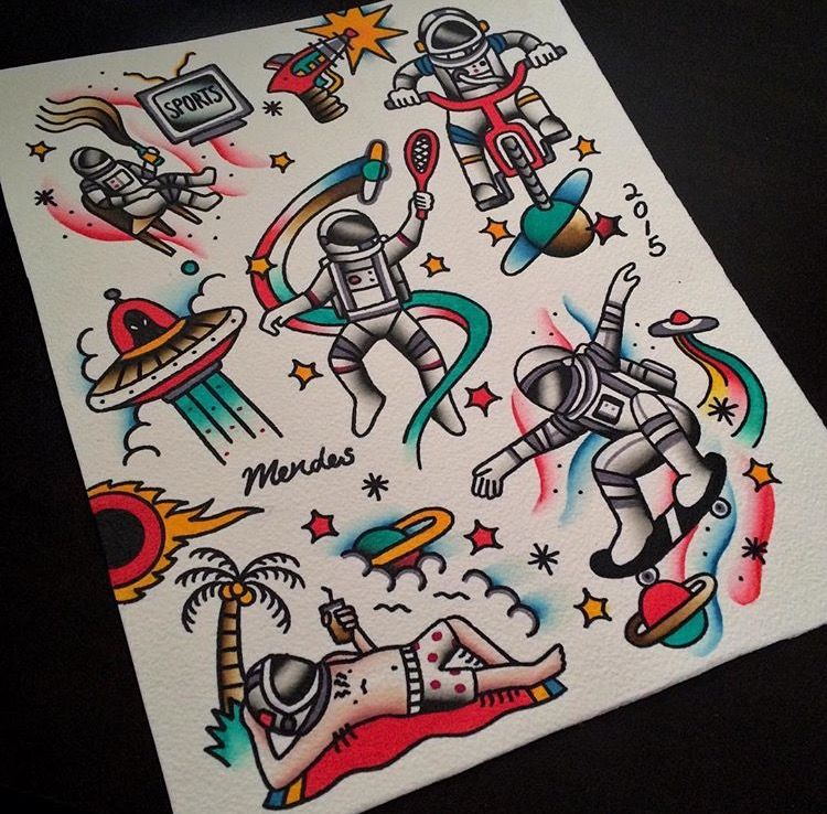 Funny Astronouts Traditional Tattoo Designs In Colour Old School Tattoo Designs Traditional Tattoo Old School Traditional Tattoo Sleeve