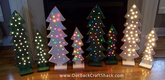 Wood Christmas Tree with lights; Christmas Decorations; Distressed