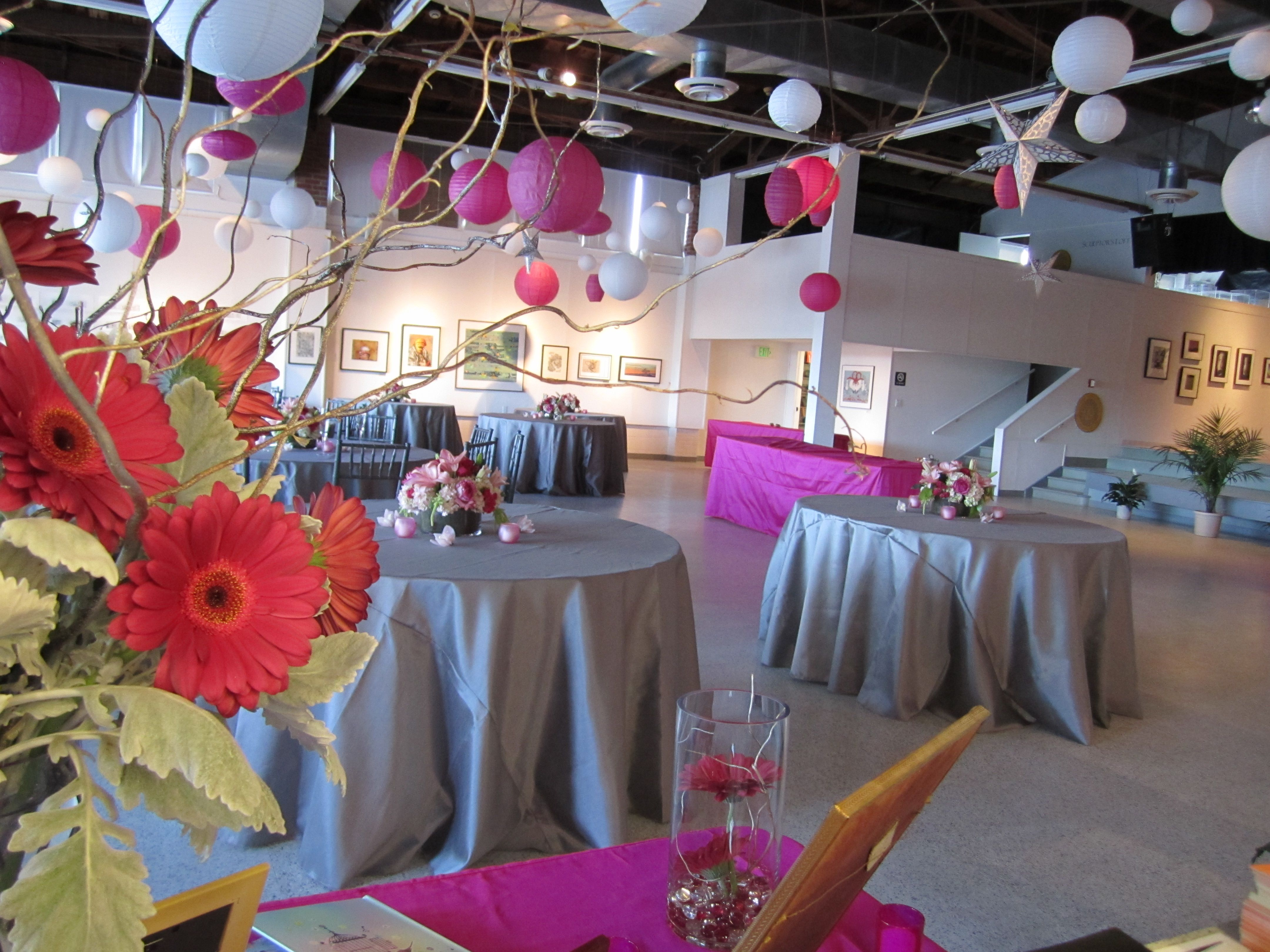 magenta themed party decor at the lbi foundation