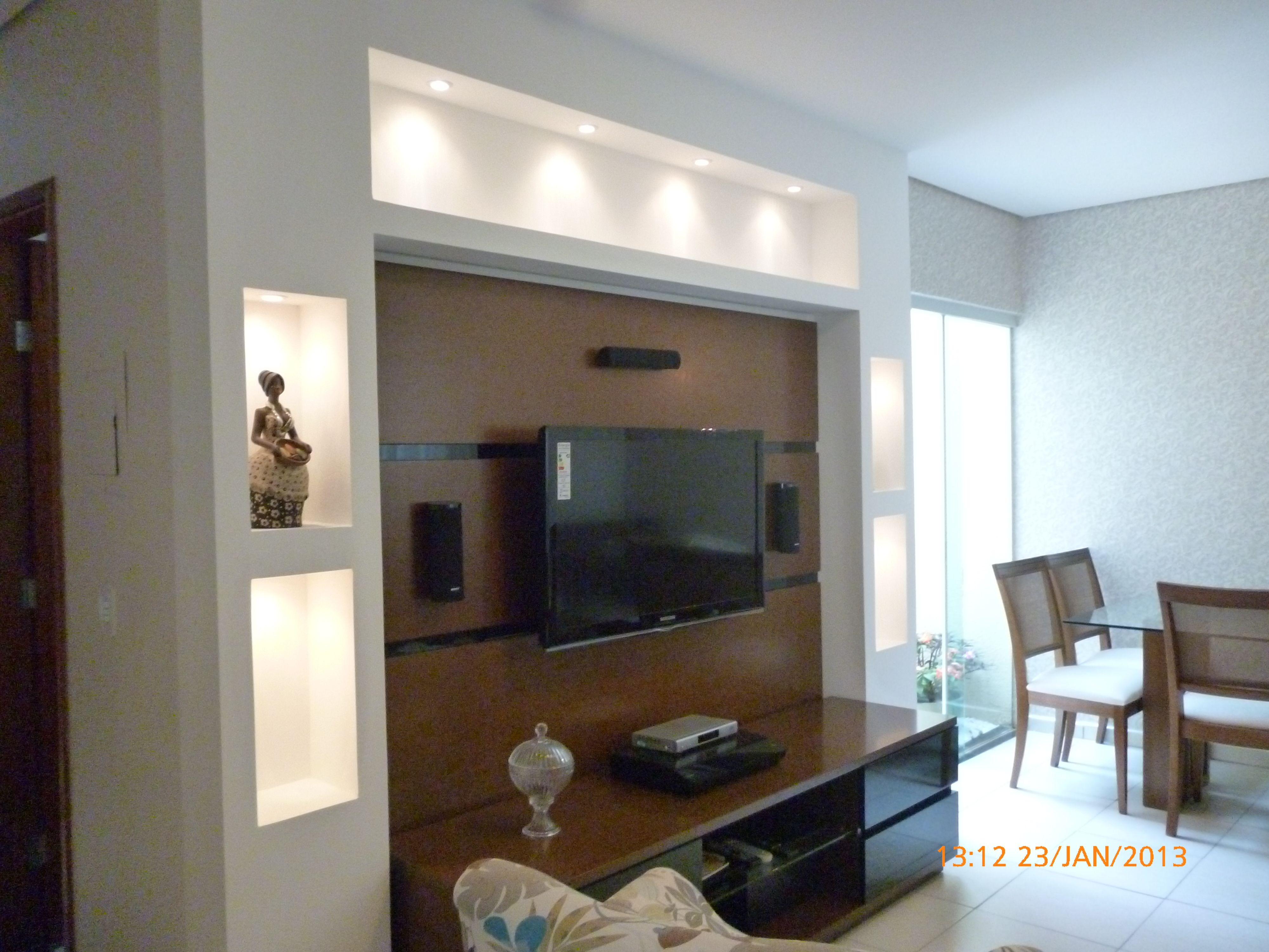 Estante Gesso Iluminada My Work Pinterest Tv Walls Tv Units  -> Estante Gesso Sala Tv