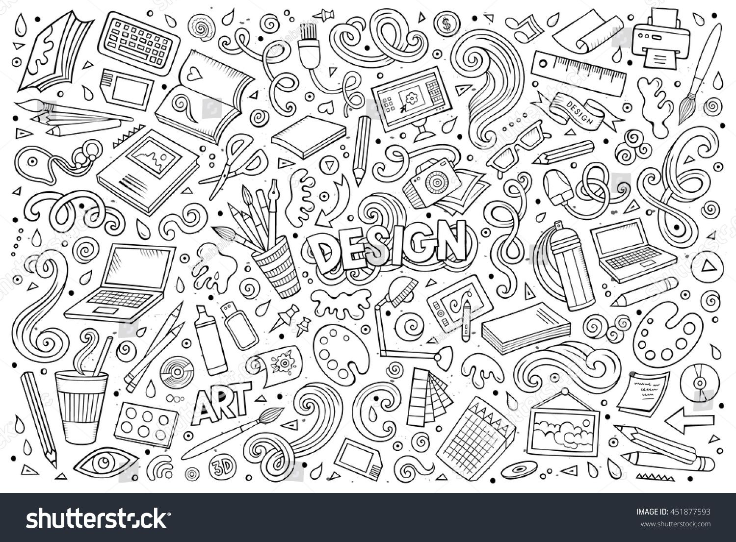 Line Art Vector Hand Drawn Doodle Cartoon Set Of Design Theme Items Objects And Symbols Line Art Vector Doodle Cartoon How To Draw Hands