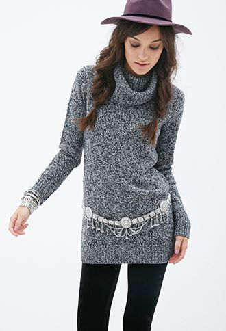 Marled Cowl Neck Sweater Dress | FOREVER 21 - 2000137048 | April's ...