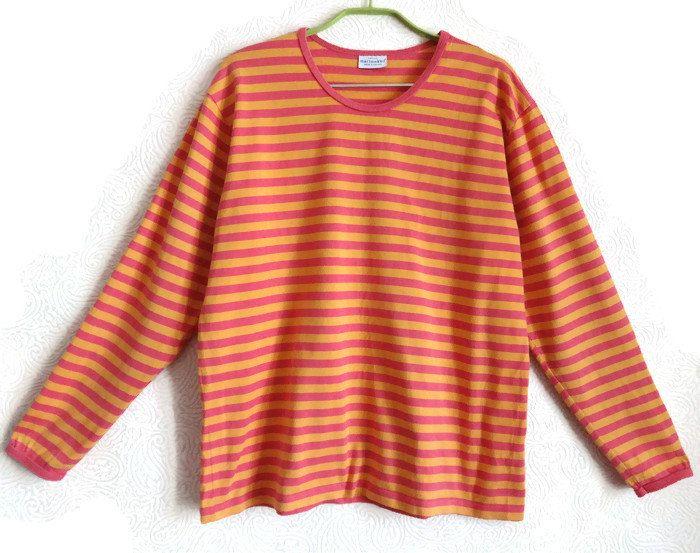 MARIMEKO Pink & Yellow Shirt Cotton Striped Top Nautical Shirt ...