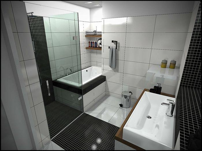 Badezimmer schwarz-weiß graue | Badezimmer Ideen – Fliesen ... | {Bad design schwarz weiß 37}