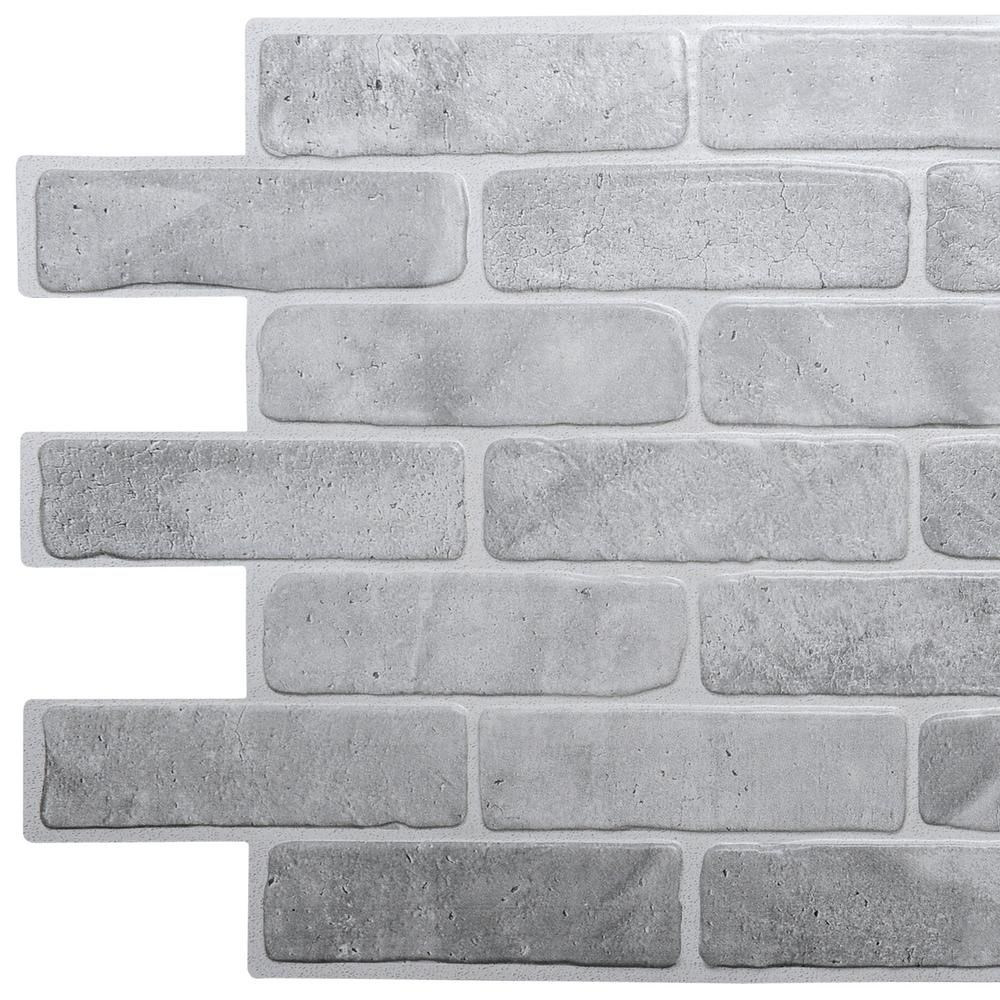 Dundee Deco 3d Falkirk Retro 10 1000 In X 40 In X 19 In Vintage Grey Faux Brick Pvc Wall Panel Tp10014022 The Home Depot In 2020 Brick Wall Paneling Faux Brick Faux Brick Wall Panels