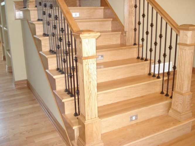 Best Red Oak Maple Steps Treads Spindles Iron Rods Rails Newel 400 x 300