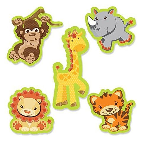 24 count DIY Safari Small Party Cut-outs Birthday Jungle Wild Theme