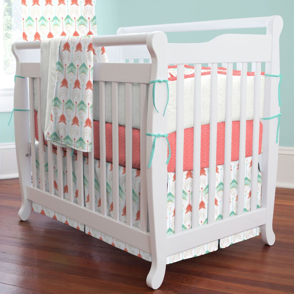 Mini Crib Bedding Sets For Girl.Coral And Teal Arrow Mini Crib Bedding Hudson Mini Crib