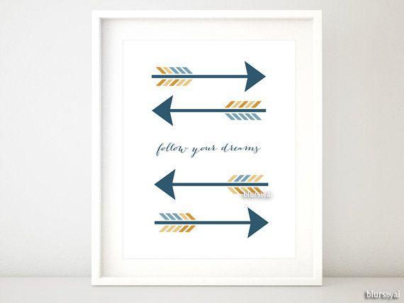 """Arrow Quotes Cool Arrow Printable Arrow Quote """" Follow Your Dreams """" Art Wall Decor . Design Ideas"""