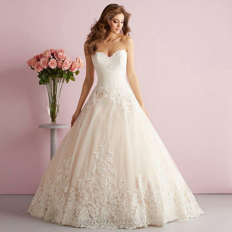 Vintage Wedding Dresses Glasgow: Romantic Ivory Ball Gown Wedding Dresses Custom Made Floor