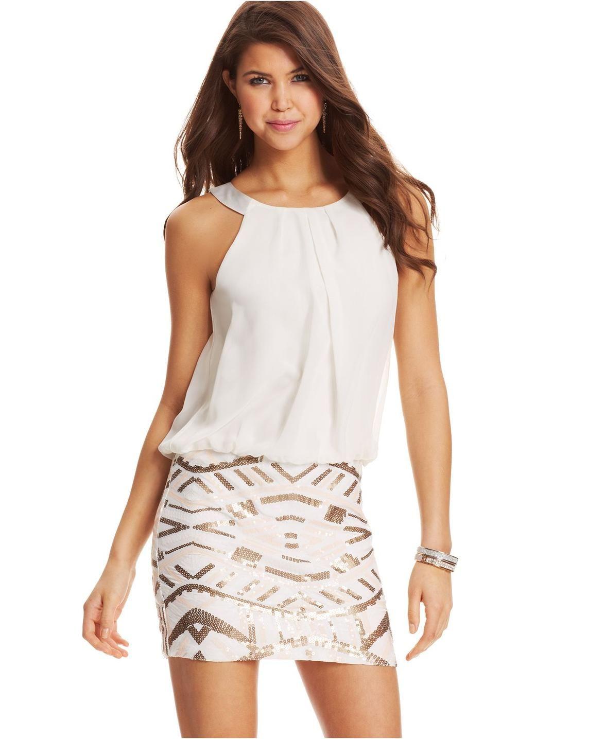 As U Wish Juniors' Sequin Blouson Dress http://picvpic.com/women ...