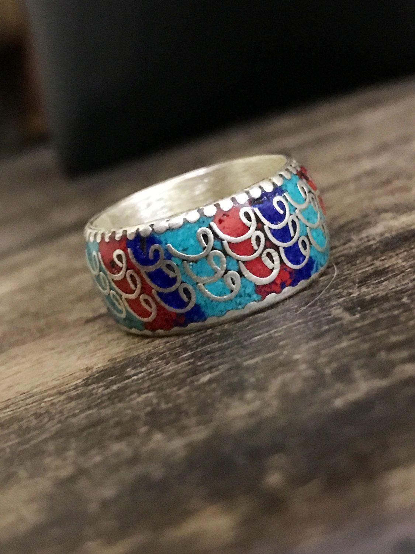 Tibetan silver enamel handmade ring. Yoga ring, Buddhist ring. 1 only US Size 9 by Omanie on Etsy