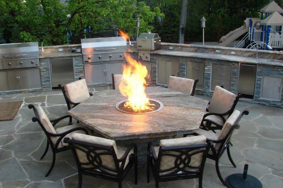Pleasant Outdoor Dining Table With Fire Pit The Landscape Design