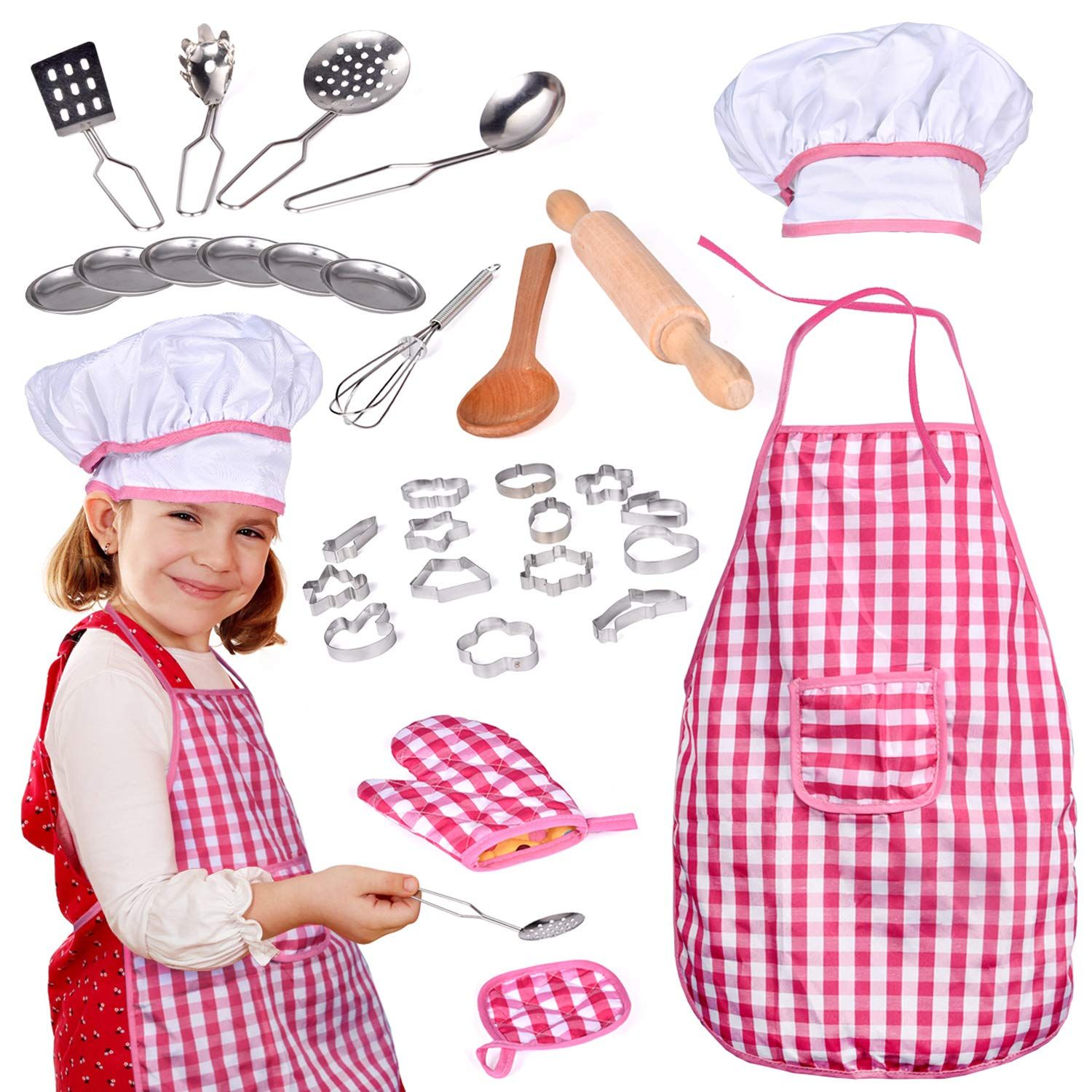 32 Pcs Chef Dress Up Clothes For Little Girls Play Kitchen