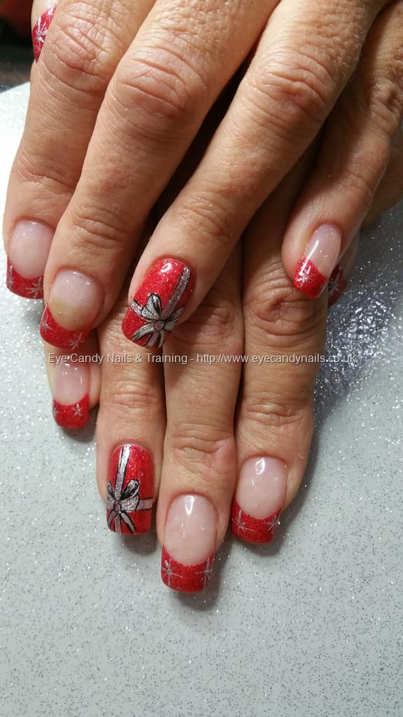 Red Glitter Tips With Christmas Parcel Nail Art Nails Pinterest