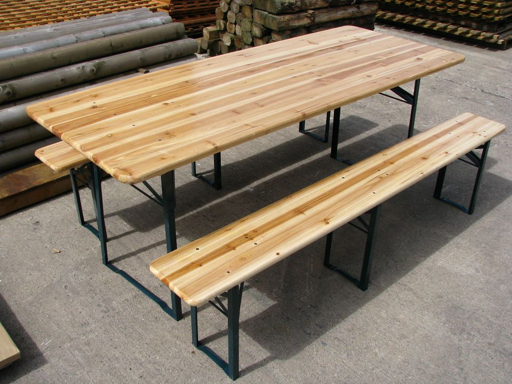Large Outdoor Wooden Folding Beer Table Bench Set Trestle Garden Furniture