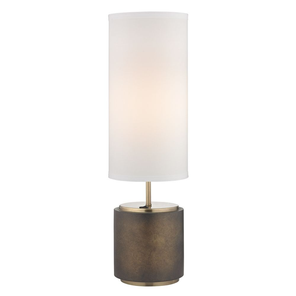 Design Clics Lighting Modern Bronze Table Lamp With White Drum Shade Dcl 6924 658