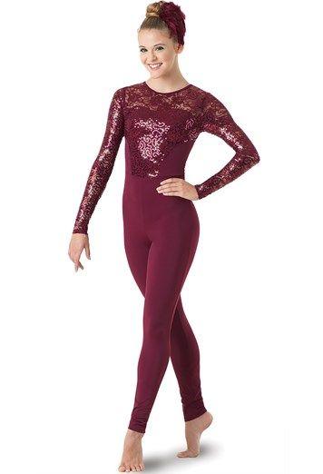 af564e2bb Long Sleeve Sequin Lace Unitard