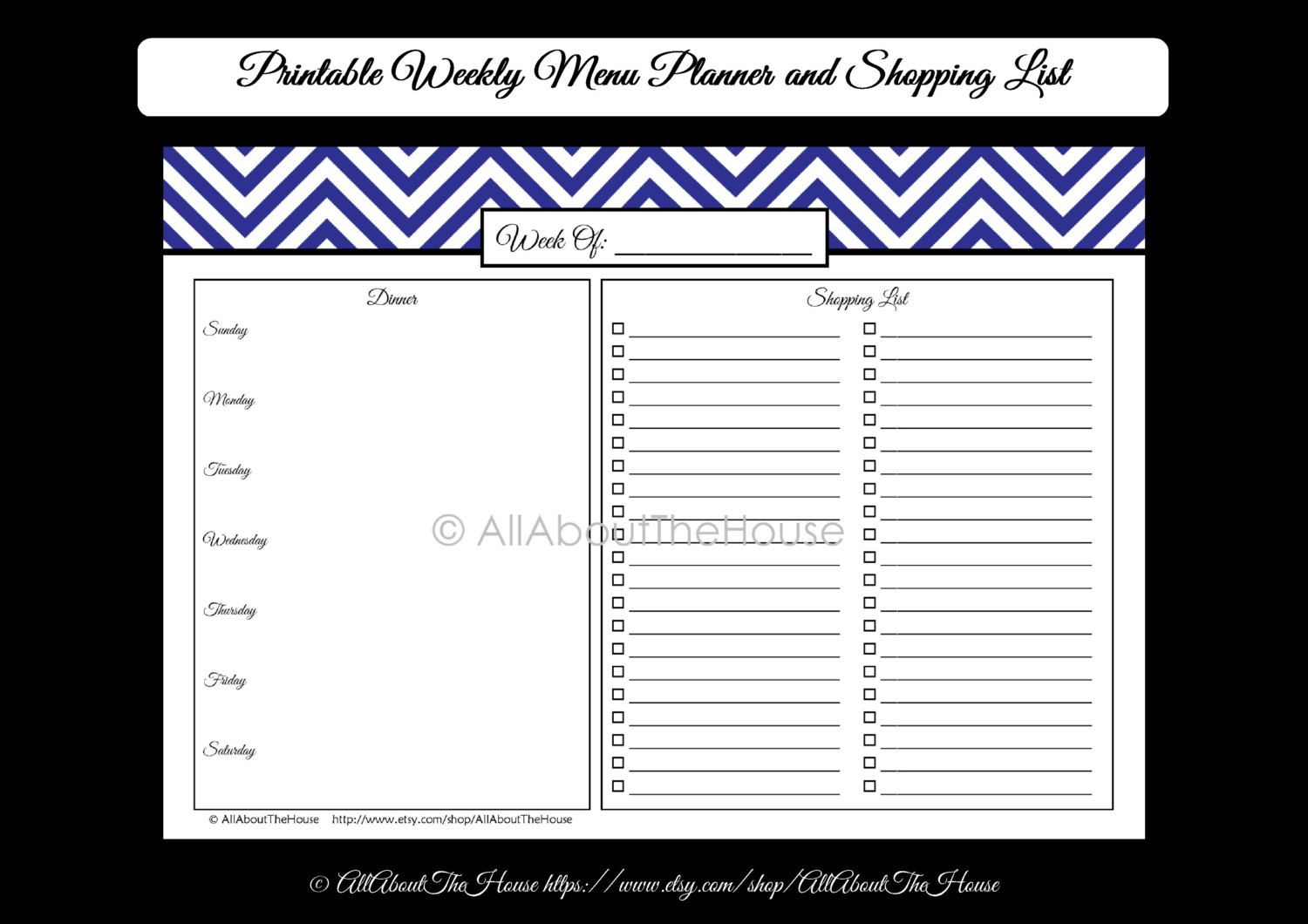 Printable Weekly Meal Planner And Shopping List