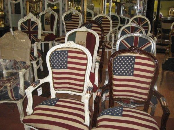 Outletetalage u eu e barok stoelen vlag usa england ned italie