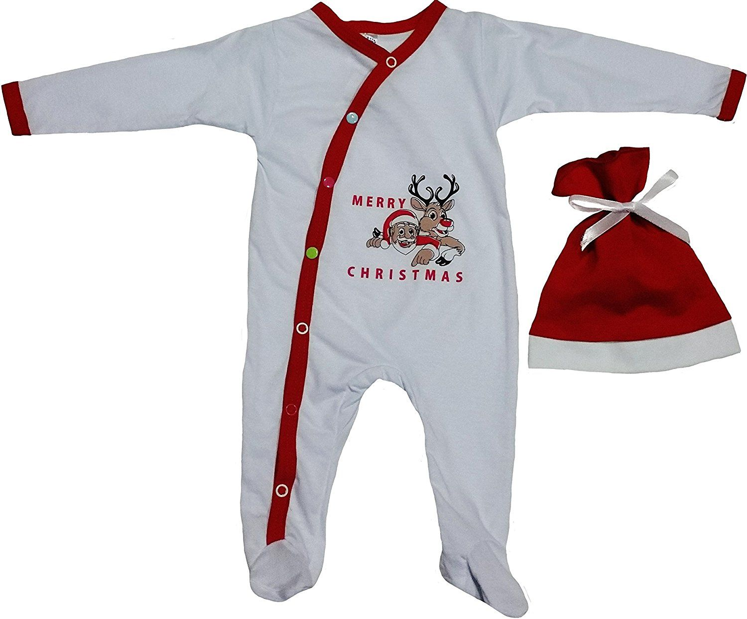 Baby First Christmas Outfit For Infants with Reindeer and Santa ...