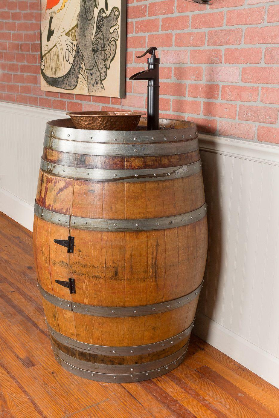 Single Wine Barrel Vanity Set - Vessel Sink | Vessel Sink, Vanity