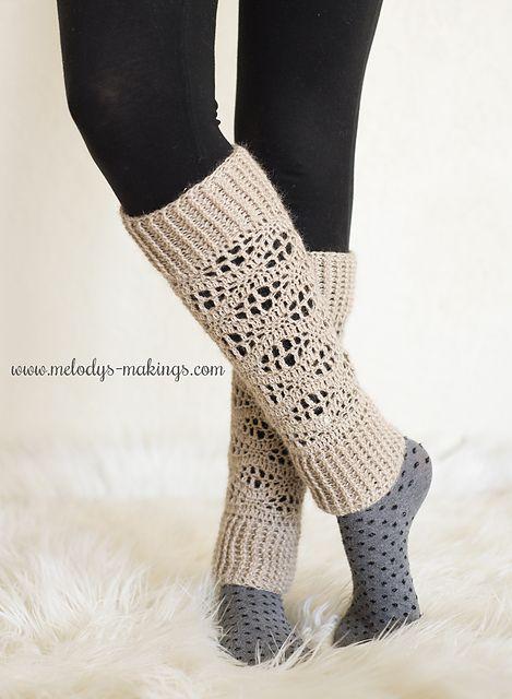 Wisteria Leg Warmers ~ Crochet Version pattern by Melody Rogers