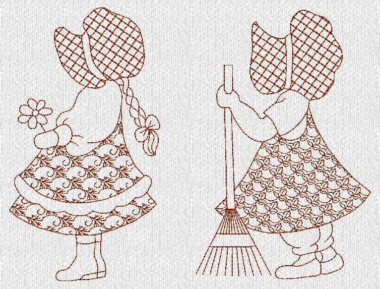 INSTANT DOWNLOAD Duvet\'s Sunbonnet Sue Redwork by embroiderygirl ...