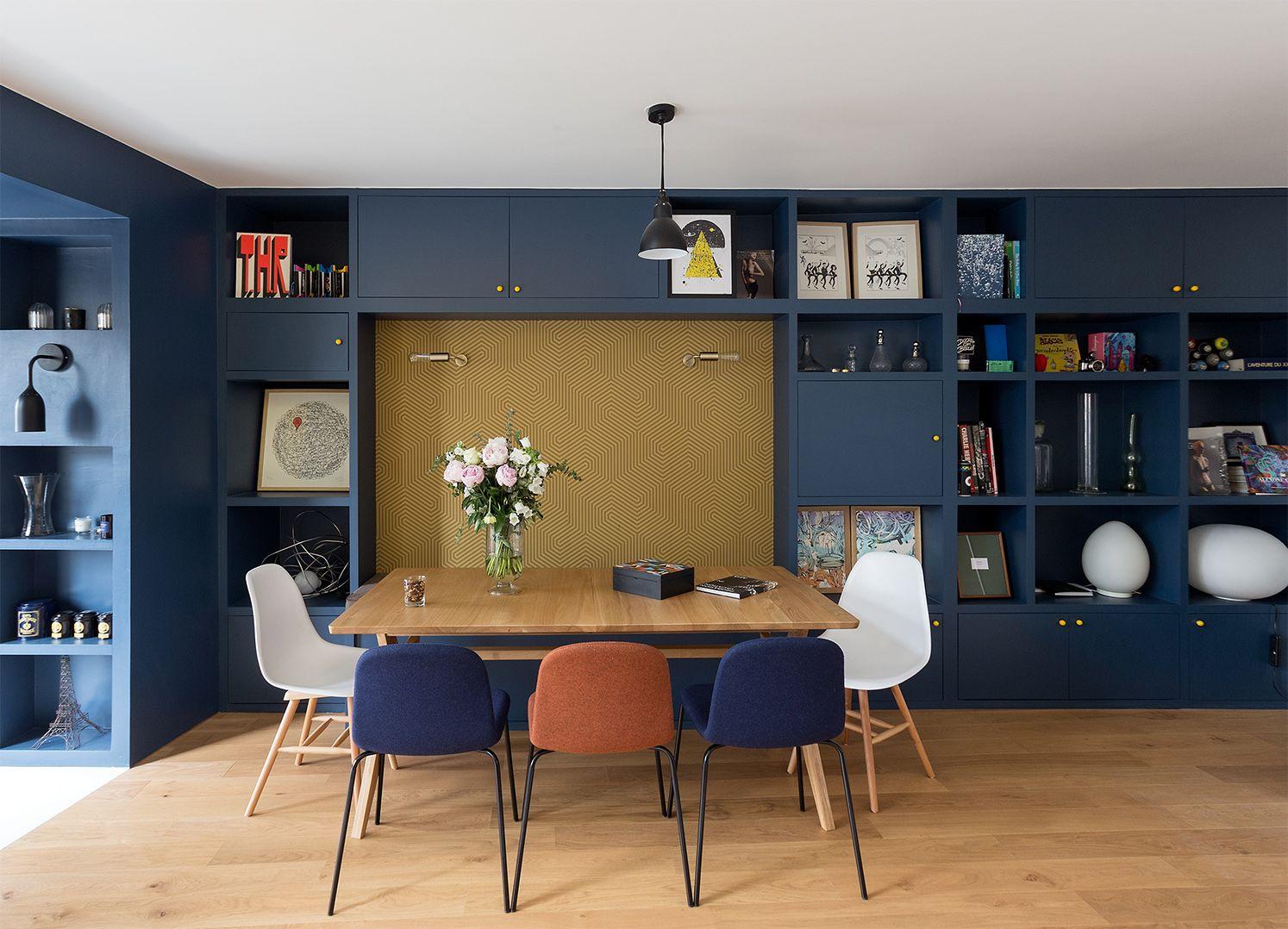 Gcg Architectes mur gris bleu pour la salle à manger leibniz gcg architectes