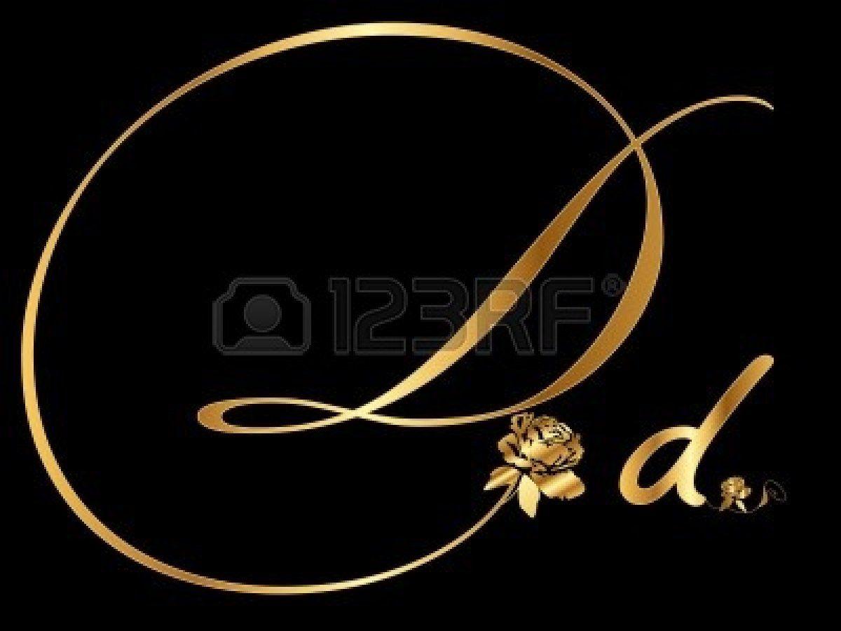 Stock Vector Gold Letters Letter D Gold Black Background