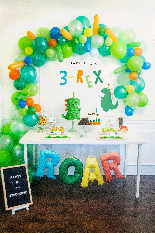 3 Rex Three Rex Dinosaur Party Backdrop Birthday Party Instant