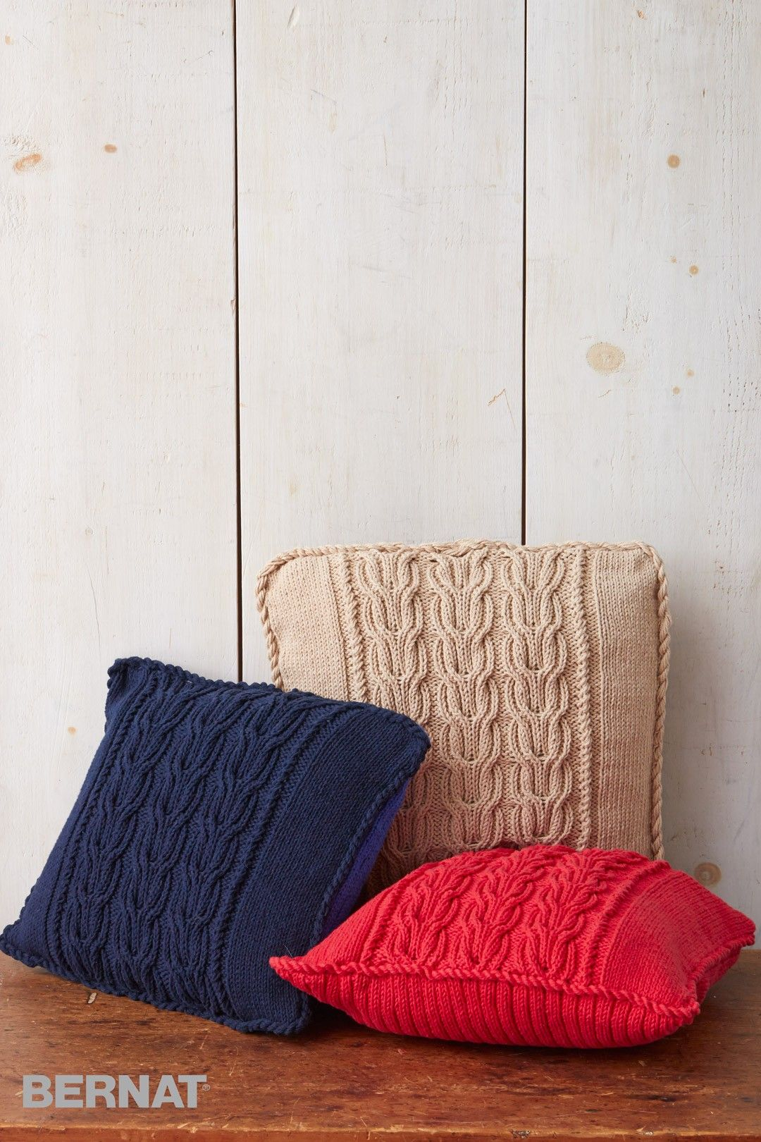 Cable Knit Trio Pillows - Free Knitted Pattern - (yarnspirations ...