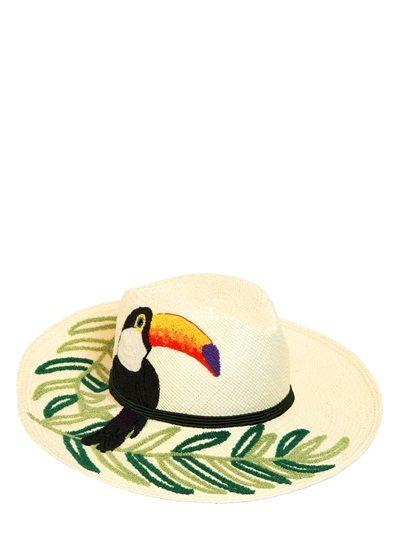 ETRO - EMBROIDERED WOVEN PALMA STRAW HAT - LUISAVIAROMA - LUXURY SHOPPING ENVIO EN TODO EL MUNDO- FLORENCIA