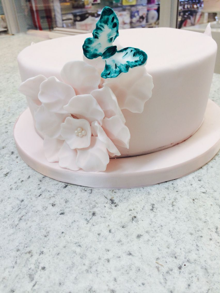 Pretty pink and butterfly by www.fondantandapronstrings.com