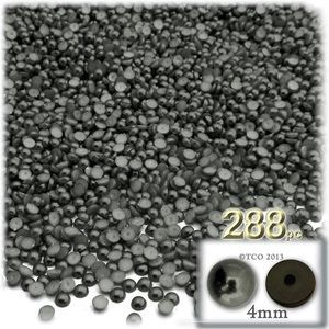 288-pc Pearl finish Half Dome Beads, Round, 4mm, Charcoal Gray