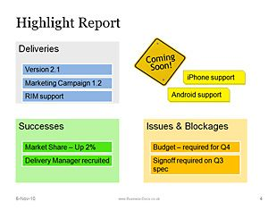 Project Status Highlight Report  Projects To Try