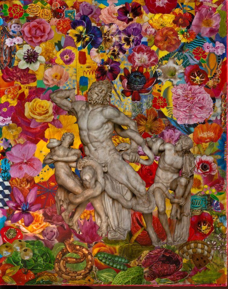 Felipe Cardeña, The Labyrinths of Memory, 2013, collage su tela, 50x40.