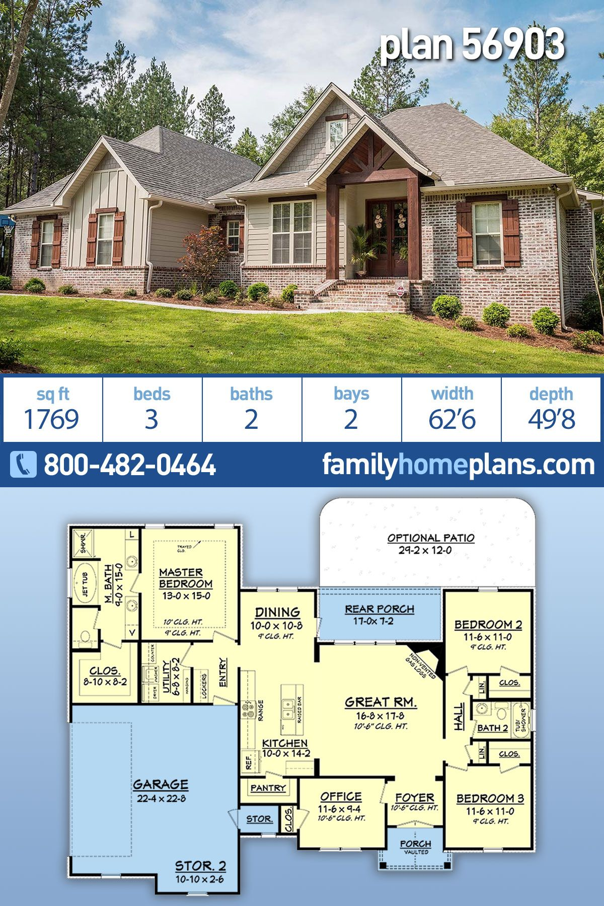Craftsman Style Ranch Homes : craftsman, style, ranch, homes, Traditional, Style, House, 56903, Bath,, Garage, Family, Plans,, Craftsman, Dream, Plans