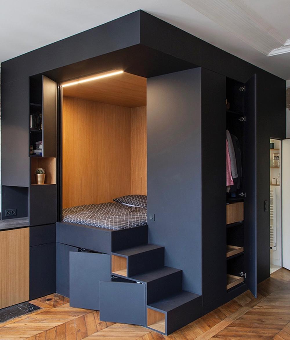 Le Cube Noir Visite Deco Blog Deco Clem Around The Corner Plans Petits Appartement Appartement Design Amenagement Petit Espace