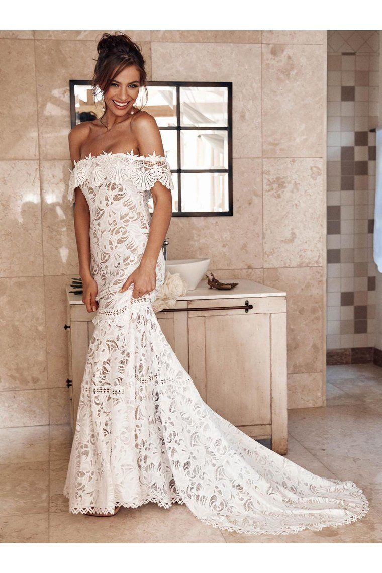 Elegant Off Shoulder Ivory Mermaid Lace Beach Wedding Dress - Lace weddings, Grace loves lace, Bride dress, Wedding dresses lace, Cheap bridal dresses, Lace beach wedding dress - Elegant Off Shoulder Ivory Mermaid Lace Beach Wedding Dress, SJS, This dress could be custom made, there are no extra cost to do custom size and color