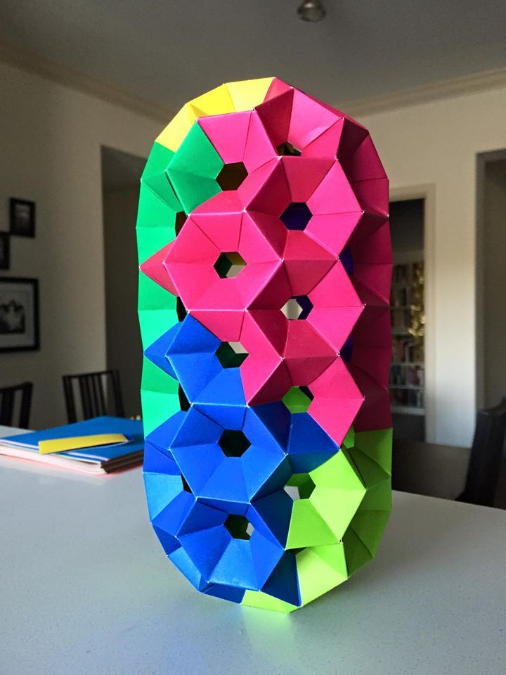 Modular Origami Nanotube I Made With Honeycomb Units Buckyball Style Ends